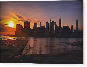 Wood Print featuring the photograph New York Skyline Sunset -- From Brooklyn Heights Promenade by Mitchell R Grosky