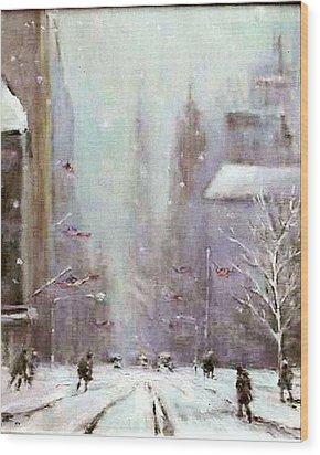 New York Snow Day Wood Print