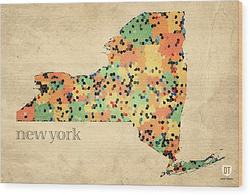 New York State Map Crystalized Counties On Worn Canvas By Design Turnpike Wood Print by Design Turnpike