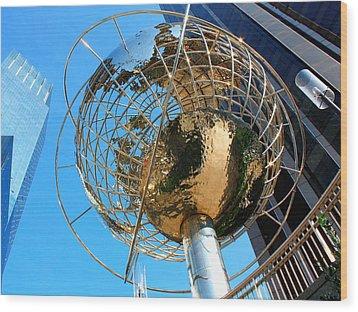 New York Steel Globe Wood Print by Jenny Hudson