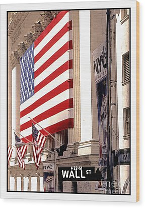 New York Stock Exchange Wood Print by Linda  Parker