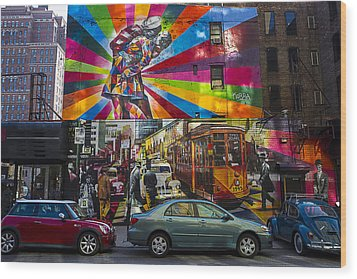 New York Street Scene Wood Print by Garry Gay