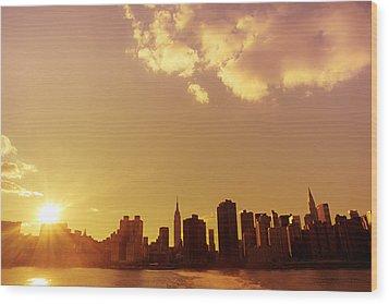 New York Sunset Skyline Wood Print by Vivienne Gucwa