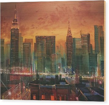 New York The Emerald City Wood Print