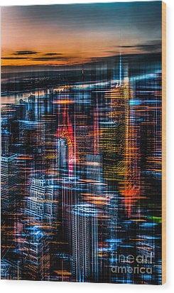 New York- The Night Awakes - Orange Wood Print by Hannes Cmarits