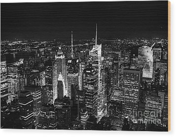 New York Times Square Bw Wood Print