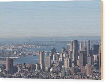 Wood Print featuring the photograph New York View And Verrazano-narrows Bridge by David Grant