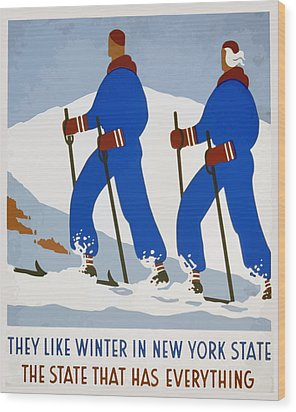 New York Vintage Skiing Wood Print by American Classic Art