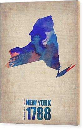 New York Watercolor Map Wood Print by Naxart Studio