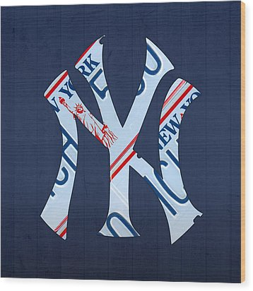 New York Yankees Baseball Team Vintage Logo Recycled Ny License Plate Art Wood Print by Design Turnpike
