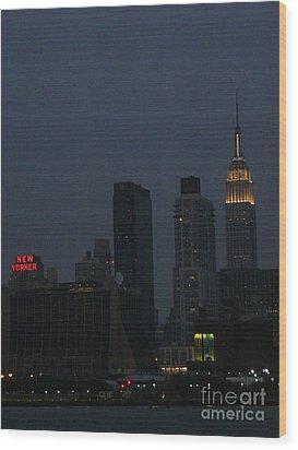 New Yorker At Night Wood Print by Avis  Noelle