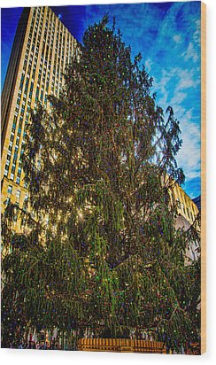 Wood Print featuring the photograph New York's Holiday Tree by Chris Lord