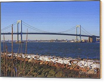 New York's Throgs Neck Bridge Wood Print by Dora Sofia Caputo Photographic Art and Design