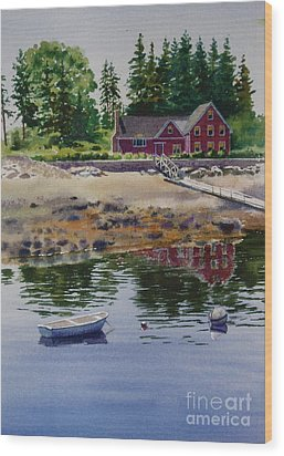 Wood Print featuring the painting Newagen Dingy by Karol Wyckoff