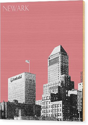 Newark Skyline - Salmon Wood Print by DB Artist