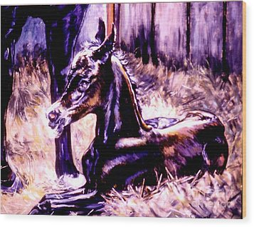 Wood Print featuring the painting Newborn Foal by Stan Esson
