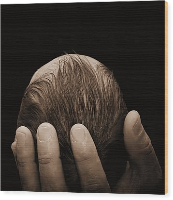 Wood Print featuring the photograph Newborn In Hand Of His Father by Tracie Kaska