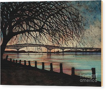Newburgh Beacon Bridge Sunset Wood Print by Janine Riley