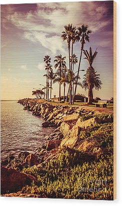 Newport Beach Jetty Vintage Filter Picture Wood Print by Paul Velgos