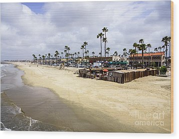 Newport Beach Oceanfront Businesses With Dory Fleet Wood Print by Paul Velgos