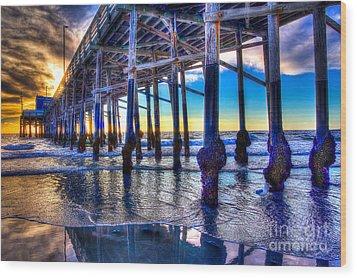 Newport Beach Pier - Low Tide Wood Print
