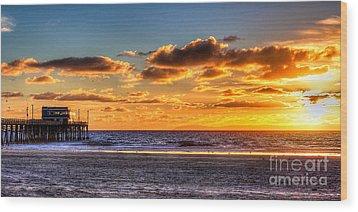 Wood Print featuring the photograph Newport Beach Pier - Sunset by Jim Carrell