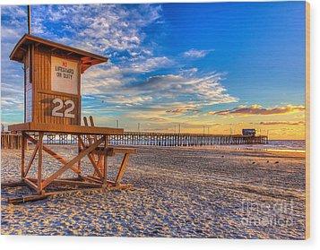 Newport Beach Pier - Wintertime  Wood Print