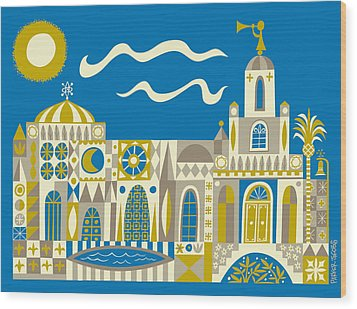 Newport Beach Temple Wood Print by Parker  Jacobs