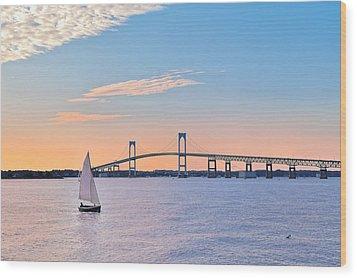 Newport Bridge Twilight Sunset With Sailboat Rhode Island Usa Wood Print