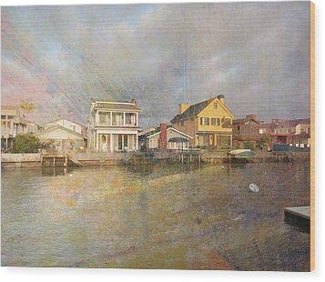 Newport Harbor At Sunset Wood Print