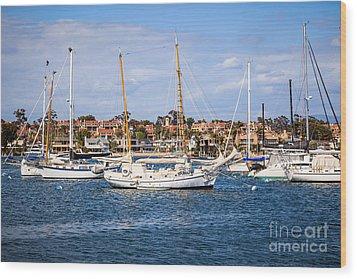 Newport Harbor Boats In Orange County California Wood Print by Paul Velgos