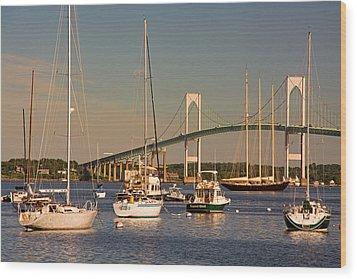 Newport Harbor With Pell Bridge Wood Print by Nancy De Flon