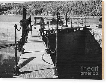 Newry Ship Canal Lock Gates And Controls At The Newly Refurbished Victoria Lock At Carlingford Lough Wood Print by Joe Fox