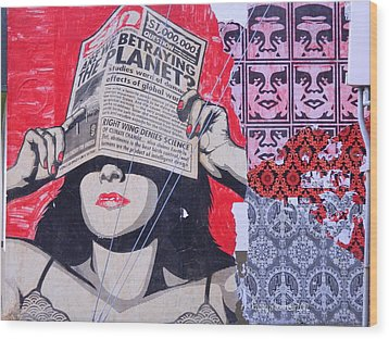 Shepard Fairey Graffiti Andre The Giant And His Posse Wall Mural Wood Print by Kathy Barney