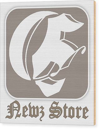 Wood Print featuring the drawing Eclipse Newspaper Store Logo by Dawn Sperry