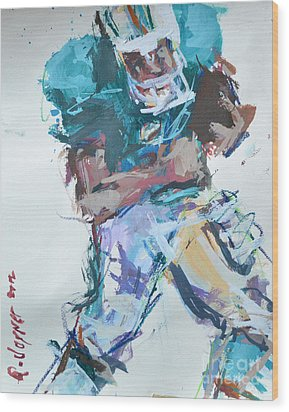 Nfl Football Painting Wood Print by Robert Joyner