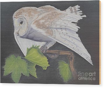 Wood Print featuring the painting Nght Owl by Laurianna Taylor