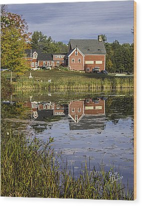 Wood Print featuring the photograph Nh Farm Reflection by Betty Denise