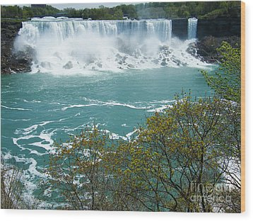 Wood Print featuring the photograph Niagara - American Falls In Spring by Phil Banks