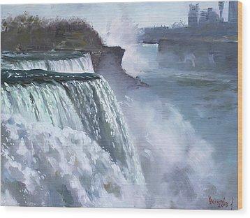 Niagara American Falls Wood Print by Ylli Haruni
