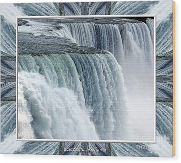 Niagara Falls American Side Closeup With Warp Frame Wood Print by Rose Santuci-Sofranko