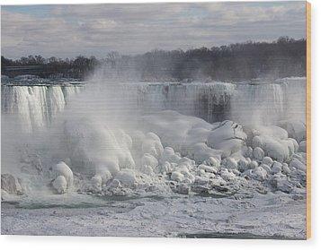 Niagara Falls Awesome Ice Buildup - American Falls New York State Usa Wood Print by Georgia Mizuleva