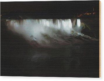 Niagara Falls By Night Wood Print by Ayse and Deniz