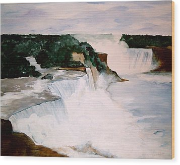 Wood Print featuring the painting Niagara Falls by Ellen Canfield