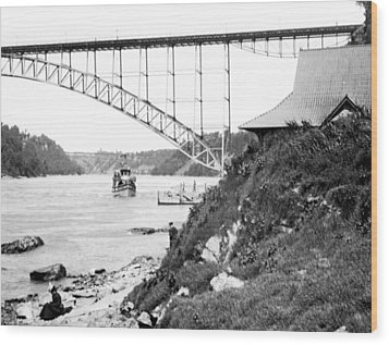 Wood Print featuring the photograph Niagara Falls Ferry Boat Vintage Photograph 1904 by A Gurmankin