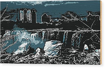 Niagara Falls Frozen At Night Wood Print by Miss Dawn