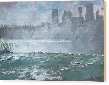 Niagara  Falls Mist  Wood Print by Ylli Haruni