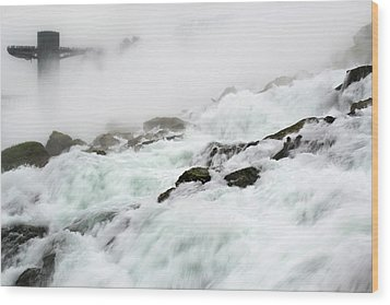 Niagara Falls With Observation Tower Behind Wood Print