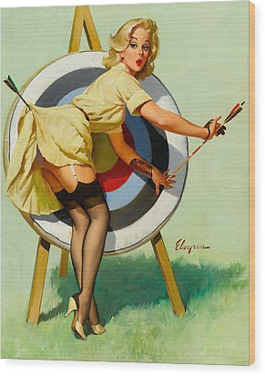 Nice Archery Shot - Retro Pinup Girl Wood Print