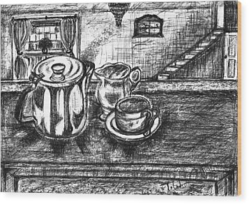 Wood Print featuring the drawing Nice Cup Of Tea by Teresa White